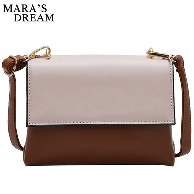 Mara's Dream Women PU Leather Flap Bag Fashion Patchwork Color Handbag PU Leather Shoulder Bags Simple Messenger Bag Female Bags