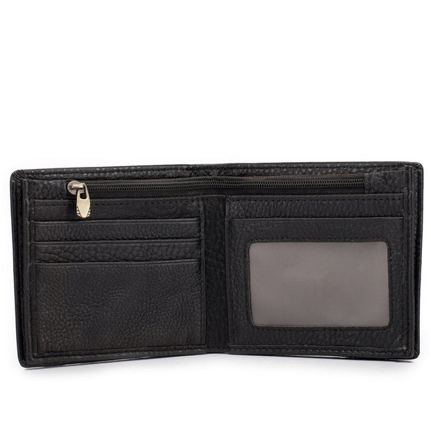 Men's Wallet Leather Multi-function Wallets Cross Section Black Purse2802