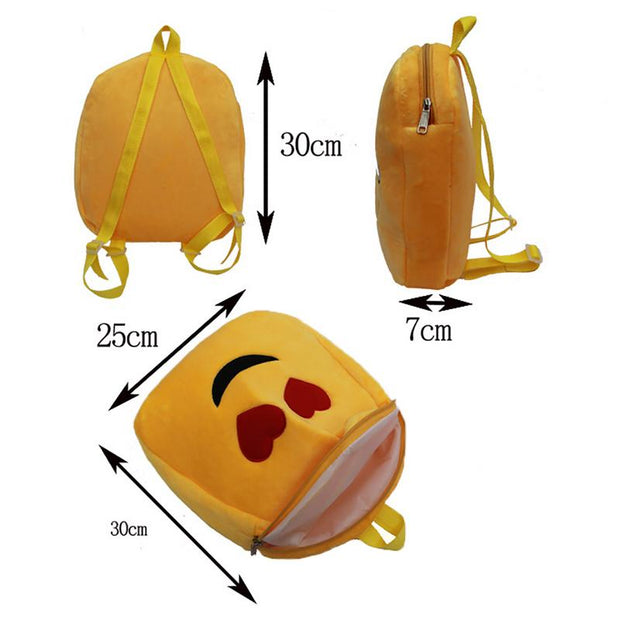 Mini Children Backpacks Cartoon Print Bag Cute Expression Backpack Emoji Plush Toy Bags School Bag Rucksack For Boy Girl Kid