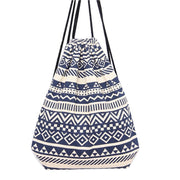 National Wind Retro Geometric Printing Backpack Blue Backpack School Bag Canvas Bag Double Shoulder Bag Mochila Feminina