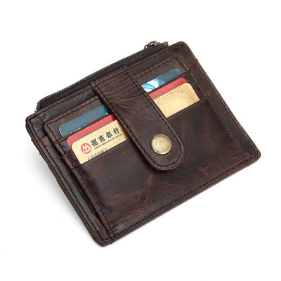 Nesitu High Quality Vintage Real Skin Genuine Leather Slim Front Pocket Mini Men Wallets Coin Purse Credit Card Holder #M030