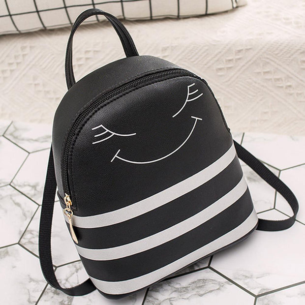 New Arrival Cute Smiling Face Stripes Leather Girls School Travel Bag Leisure Backpack Women