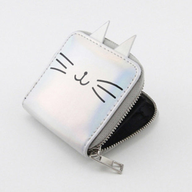 New Cartoon Cat Women Leather Wallets Kawaii Short Purse PU Coin Purse Small Zipper Clutch Bag Female Bank Card Holder Wallet