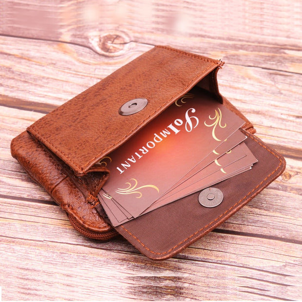 Womens Genuine Leather Ladies Coin Change Purse Money Holder With Key Ring Brown