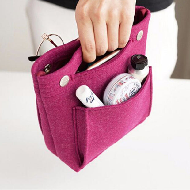 New Felt Travel Insert Organizer Handbag Hot Organizer Insert Bag Purse Large Liner Lady Makeup Cosmetic Bag Cheap Female Tote