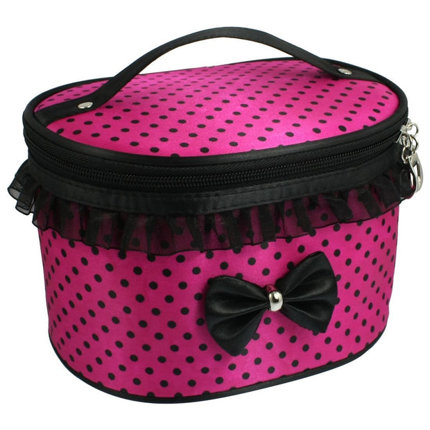 New Lady Fuchsia Polryster Dots Print Zipper Cosmetic Makeup Handbag