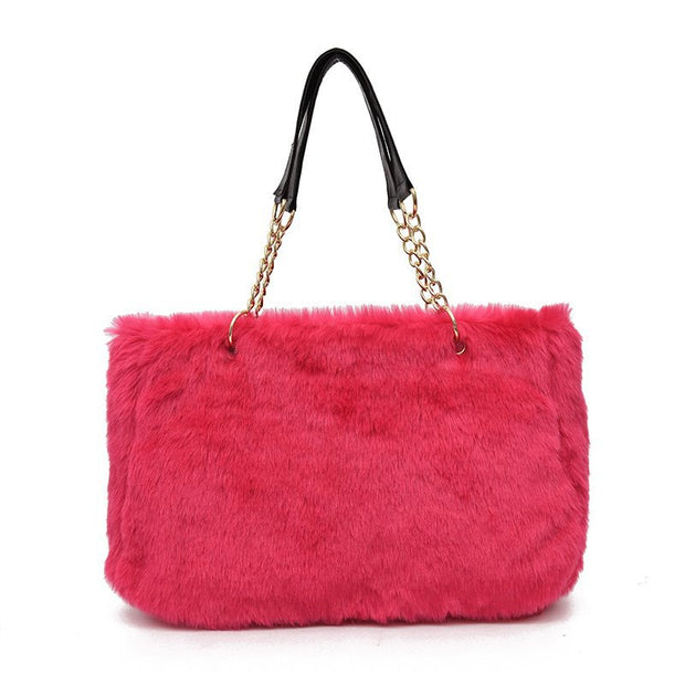 New Women Fur Shoulder Bags For Female Autumn Winter Tote Bags Style Leopard Print Large Capacity Soft Plush Bags