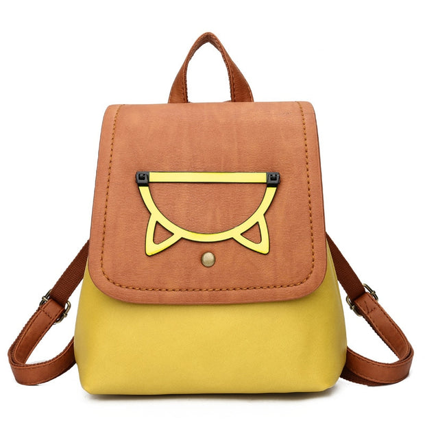 New Women Bag Fashion Cartoon Decoration High Quality PU Leather Women Backpacks Bag Casual Simple Patchwork Color Backpacks Bag