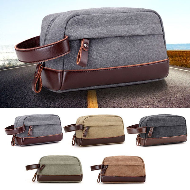 ca1deb031eba NoEnName_Null High Quality Zipper Men Travel Canvas Toiletry Bag Wash  Shower Makeup Organizer Portable Case Pouch Faux Leather
