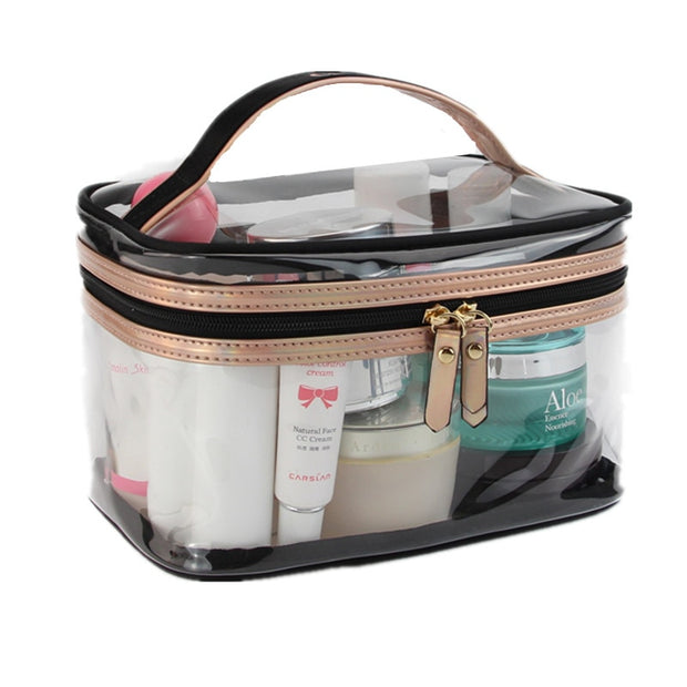 bfdc9af639af PVC Transparent Cosmetic Bags Women Travel Waterproof Clear Toiletry Wash  Organizer Pouch Beauty Vanity Makeup Case Accessory