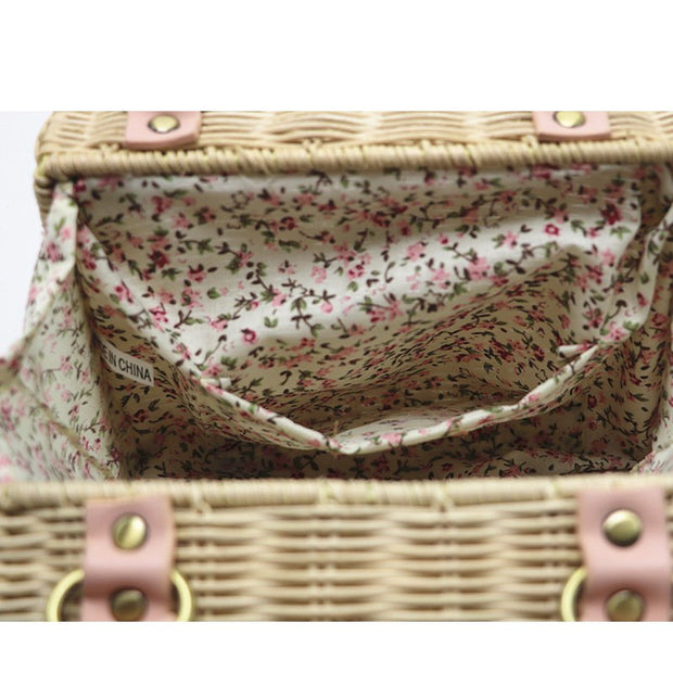Rattan Bag Small Handmade Straw Bag Woven Beach Bag For Women Crossbody Ata Handbag Luxury Designer Shopping Bags INS Popular
