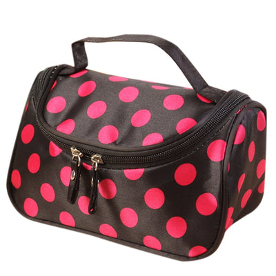 Side Zipper Cosmetic Bag Storage Bag New Black & Rose Red Dot
