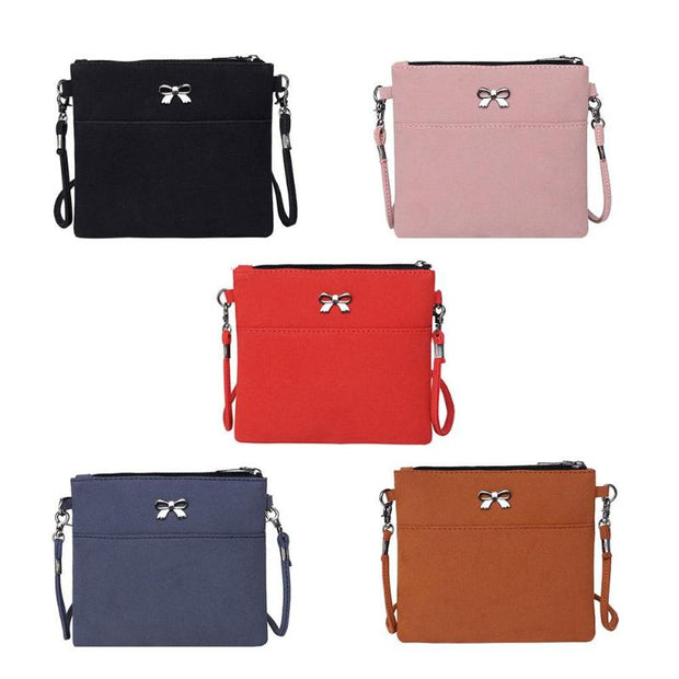 Simple Casual Women Leather Bowknot Shoulder Bag Lady Solid Color Messenger Bags Luxury Day Clutch