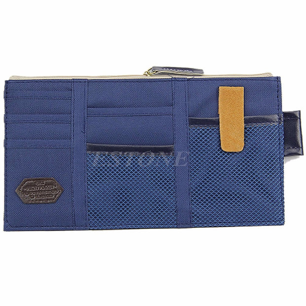 THINKTHENDO Car Sun Visor Point Pocket Documents Organizer Pouch Hanging Bag CD Card Holder