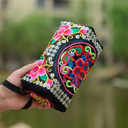 Vintage Women Ethnic Peony Flowers Embroidery Phone Female Bag Wallet National Long Wallet HandBag Purse Random Color Send Popul