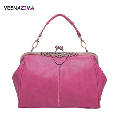 Vintage Women Shoulder Bag Female Causal Tote For Daily Shopping Women PU Leather Handbag High Quality Dames Handbag Bolsa W720Z