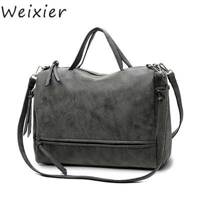 WEIXIER Fashion Female Shoulder Bag Nubuck Leather Women Handbag Vintage Messenger Bag Motorcycle Crossbody Bags Women Bag NA-01