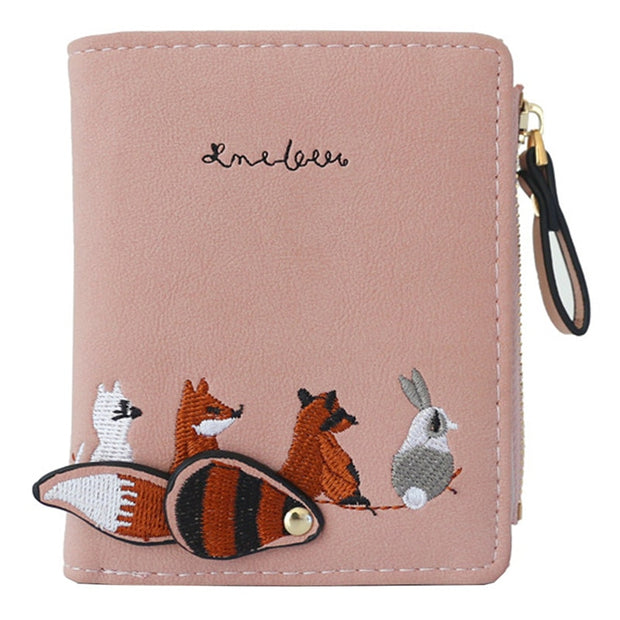 WESTERN AUSPICIOUS Female Wallet Short Embroidery Animal Pattern Women Wallets Pink Green Black Gray Womens Wallets And Purses