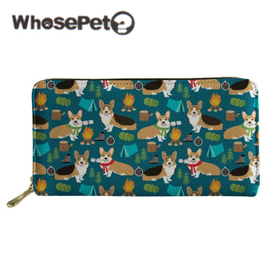WHOSEPET Female Purse Corgis Printed Women Long Wallet With Zipper 2018 New Fashion PU Leather Lady Coin Purse Card Clutch Bags