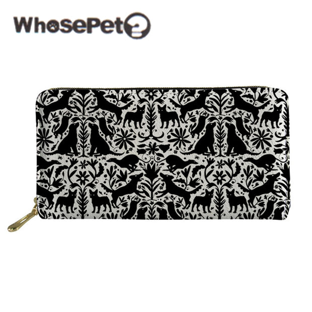 WHOSEPET Long Style Wallet Women Clutch Bags Zipper Dog Otomi Printed Youth Lady Purse Coin Holders Money Bags Billetera Mujer