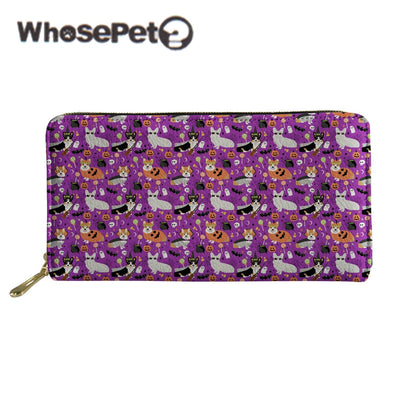 WHOSEPET Long Wallet For Women Purse Zipper Dogs Halloween Printed Female Clutch Bag Lady Coin Purse PU Leather Money Bag Casual