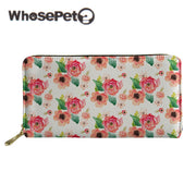 WHOSEPET Women Long Wallet Floral Printed Female Purse With Zipper Portefeuille Femme Clutch Bags Coin Purse PU Leather Wallet