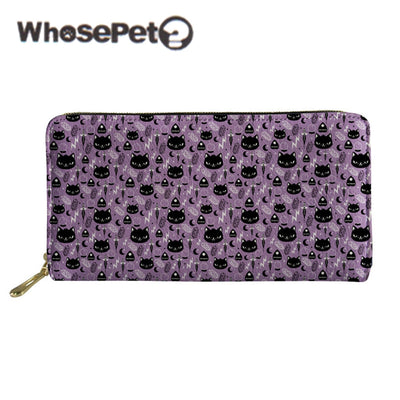 WHOSEPET Women Wallet Cat Moon Printed Lady Purse Zipper Clutch Bag PU Leather Fashion Money Bags Long Coin Purse Portefeuille