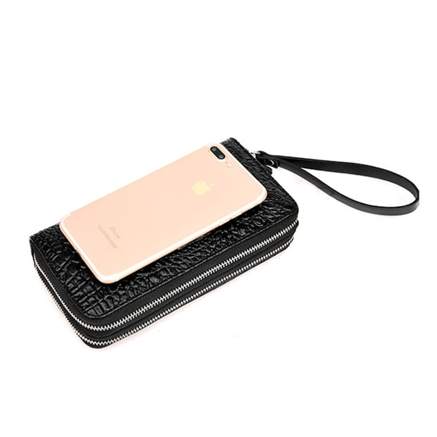Wallet Men Purse Business Wallet Crocodile Pattern Purse Men's Card Holder Designer Male Cion Clutch Bags Double Zipper Purses
