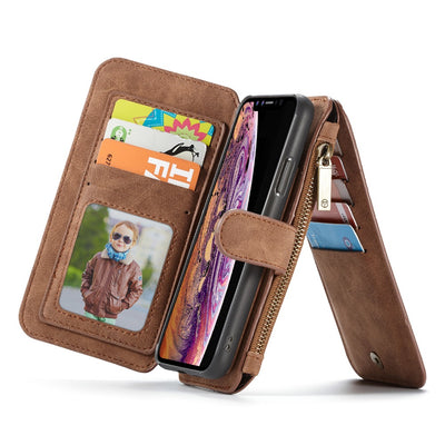 Wallet Card Case For IPhone Xs Max/XR, Genuine Leather Super Phone Organizer Purse Card Holder With Magnetic Detachable Case