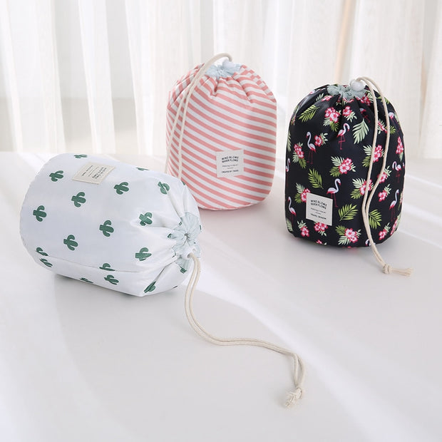 Women Lazy Drawstring Cosmetic Bag Fashion Travel Makeup Bag Organizer Make Up Case Storage Pouch Toiletry Beauty Kit