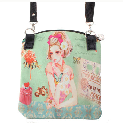 Women Messenger Bags Vintage Canvas Printing Small Satchel Shoulder European Style Girls Handbag Lady Crossbody Bag Green 20