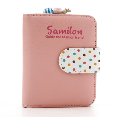 Women Short Wallets Polka Dots Leather Zipper Small Wallet Purse Cards Holder For Girls Women Laddies Candy Colors