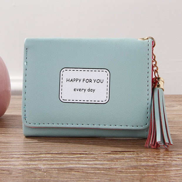 Women Simple Retro Zipper Short Wallet Coin Purse Card Holders Handbag 1218