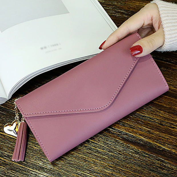 Women's Long Zipper Hasp Wallet Large Quality PU Capacity Multi Card Small Clean Cute Teen Student School Wallet Coin Purse