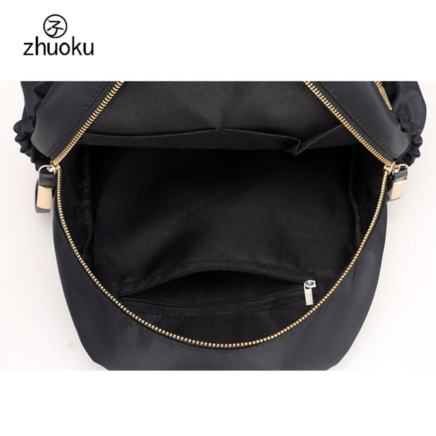 Women Travel Backpack Waterproof Black Nylon Bagpack Female Preppy Style Backpack School Bags For Teenage Girls Mochilas Z484