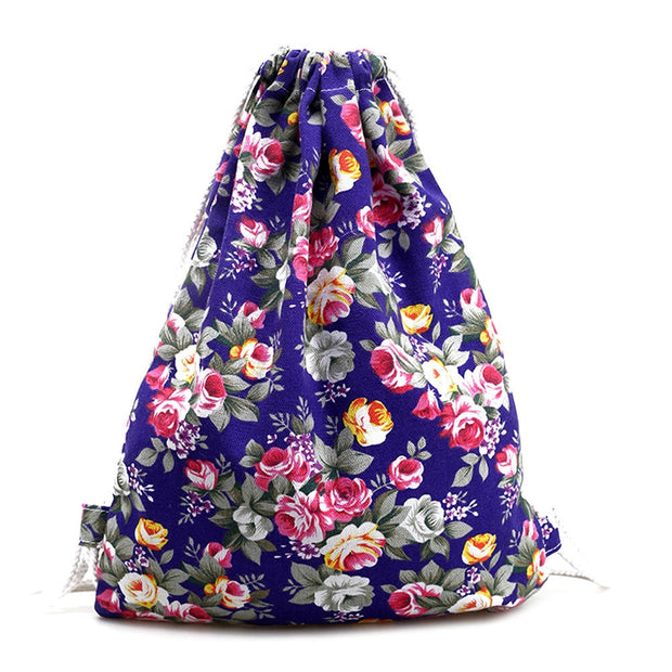 Womens Korean Style Floral Canvas Backpack Fashion Drawstring Backpack Mochila Feminina Escolar