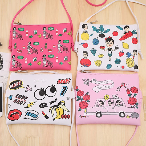 Fashion Women Handbags 2019 New Arrival Female Casual Shoulder Bags Girl Cartoon Pu Single Shoulder Skew Cute Day Clutches Flap