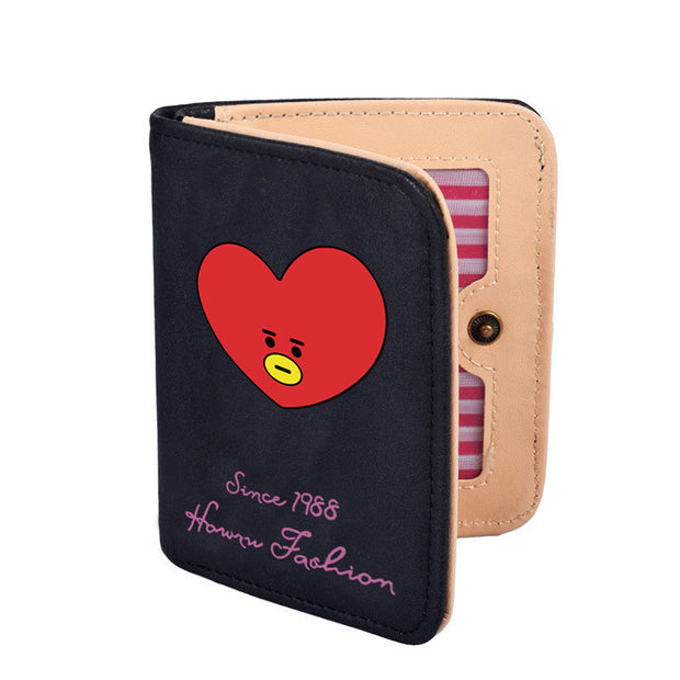 Kpop BTS Bangtan Boys Purses Same Paragraph TaTa Cooky Cartoon Cute Candy Colors Short Wallet Men And Women Korean Wallets