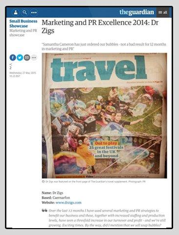 The Guardian Showcases Dr Zigs for Marketing & PR Excellence