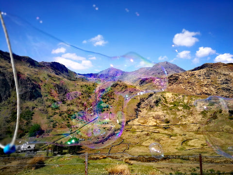 Pen y Pass – Snowdon, Nant Gwynant and valley, sheep farm and crib goch pictured in a giant bubble