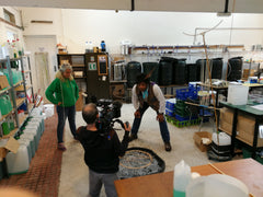 Filming in Dr Zigs HQ CBeebies, Junk Rescue, Manufacturing toys