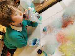 Bubble Painting with our Bubble Foamer and Kit for indoor bubbles and crafting