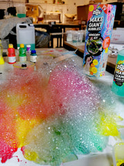 Bubble foam for bubble painting with Dr Zigs Bubble Painting kits great for indoor bubbles, messy play, sensory activities and crafting