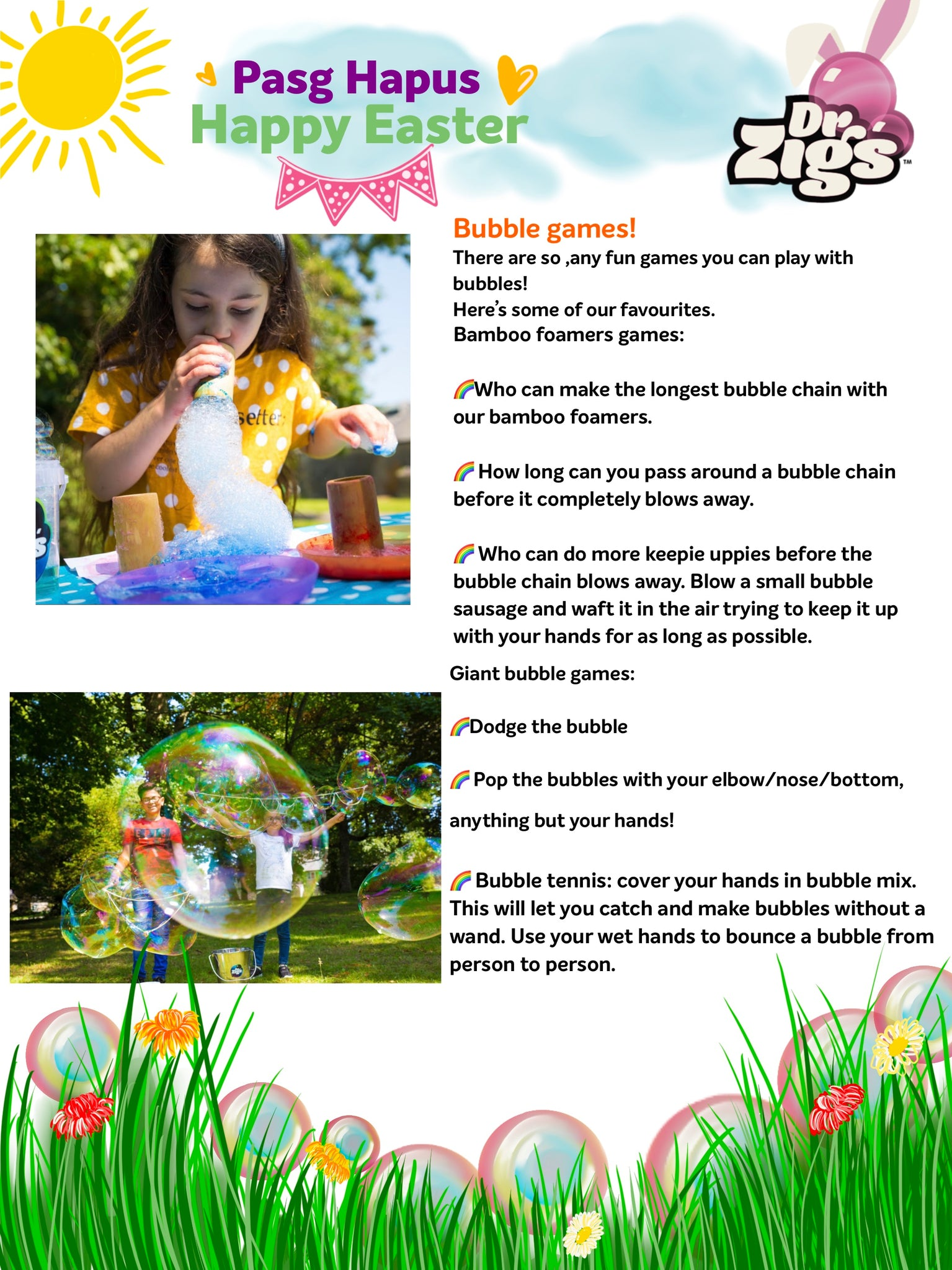 easter activities giant bubbles dr zigs happy fun ideas easter egg hunt eco friendly biodegradable vegan made in Uk toys soap garden fun 3 years old