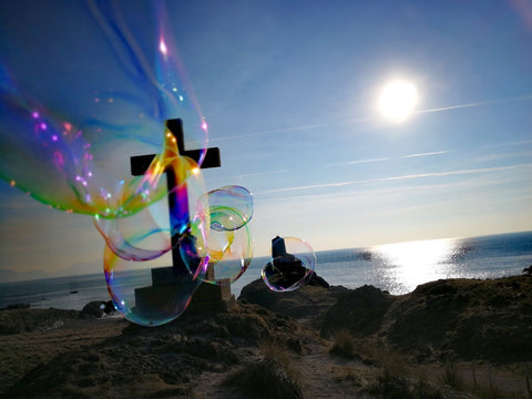 Ynys Llandwyn – Llandwyn Island image, Celtic cross, lighthouse and giant bubbles