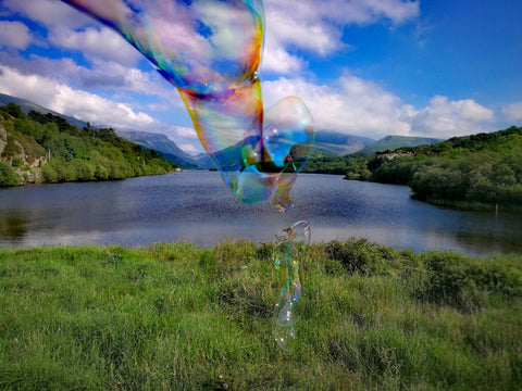 Padarn Lake, Llyn Padarn, Llanberis, picture taken at Pen Llyn, with view of Snowdon in a Giant Bubble, taken towards Dolbadarn Castle