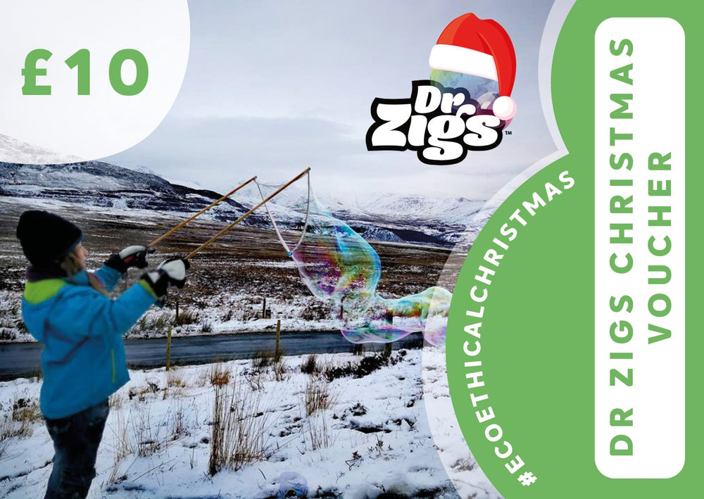christmas voucher dr zigs giant bubbles under £20 eco ethical alternative toys shop eco stocking filler perfect idea children games massive bubbles cyber monday black friday sale discount code