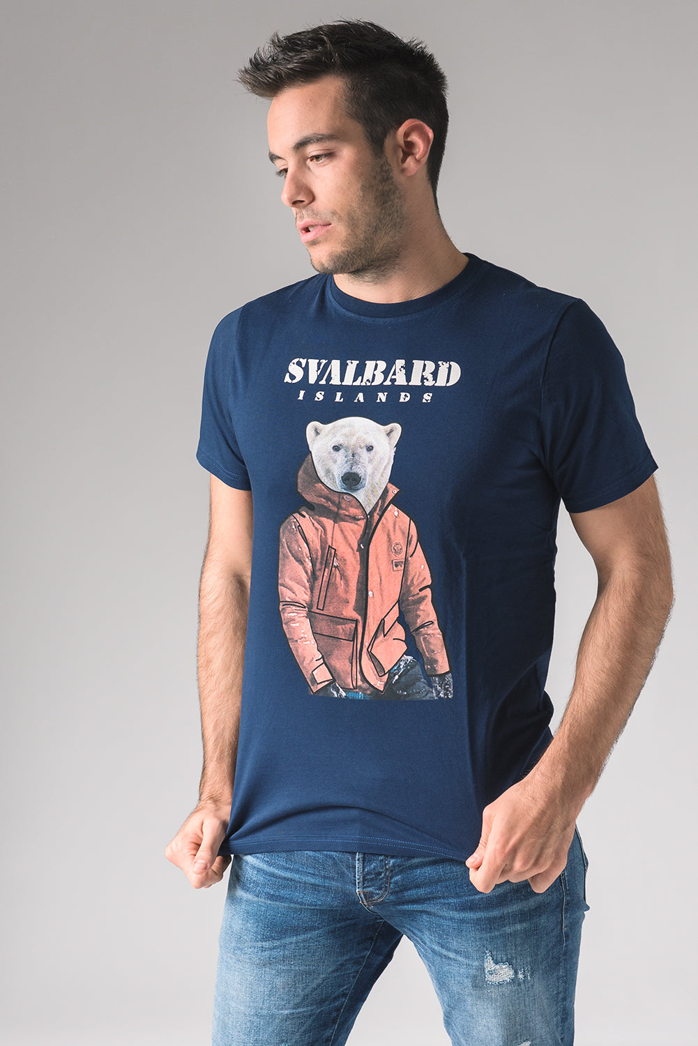 T-shirt Umberto Polar Bear - Dark Navy Blue