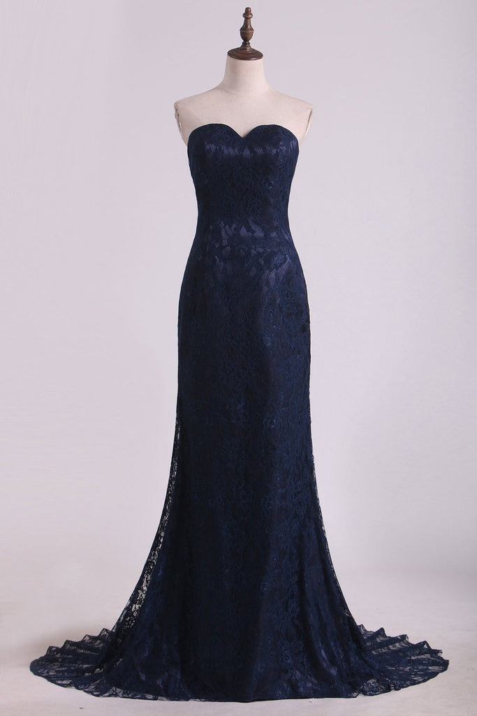 2019 Evening Dresses Sweetheart Dark Navy Lace Sweep Train Mermaid