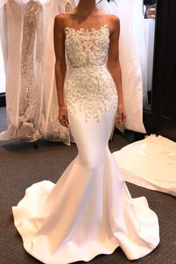 Strapless Satin With Applique And Beads Wedding Dresses Mermaid